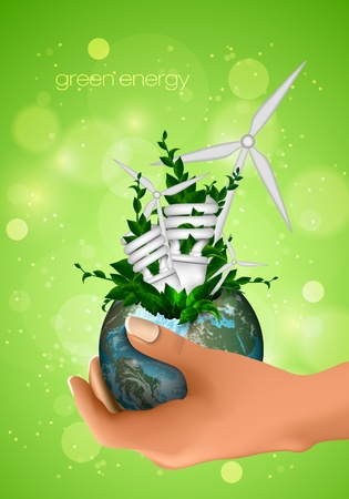 Globe with leaves, energy-saving light bulb in windmill palm  the concept of clean energy, environment Vector