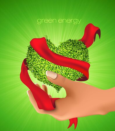 Green Heart of the grass with ribbons and rays in hand  concept of ecology Vector