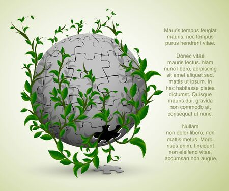 green leaves grow from the ball  abstract nature illustration Vector