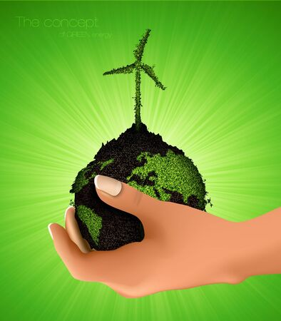 green planet with a windmill grass  the concept of clean energy Vector