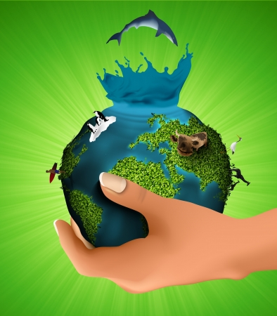 multistory: Green planet with the animals in his hand  concept of ecology Illustration
