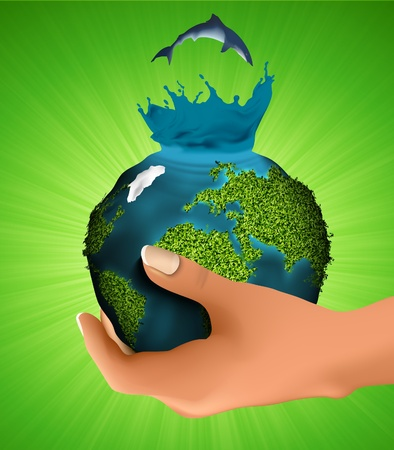 Green planet with the animals in his hand  concept of ecology Vector