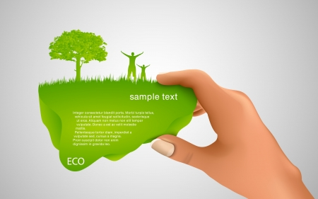 hand holding a green bubble for text Vector