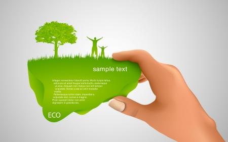 hand houden van een groene zeepbel voor tekst