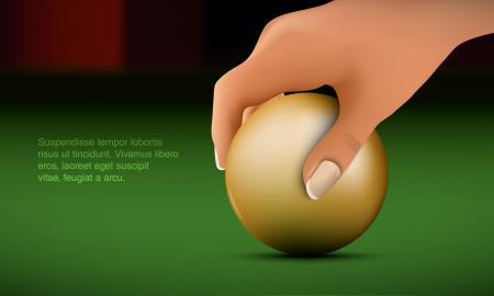 cue sports: Hand puts the ball on the billiard table Illustration