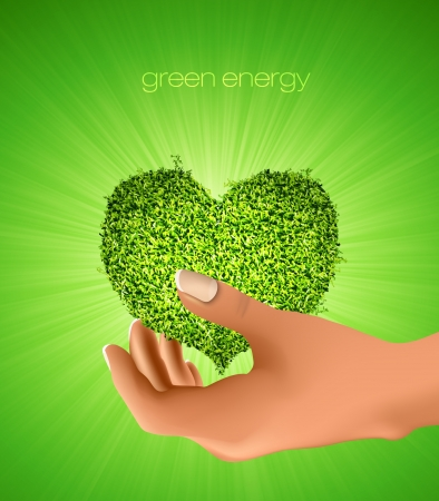 heart of grass in his hands  concept of ecology Vector