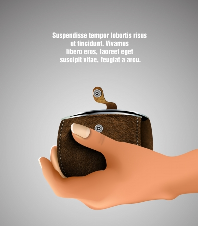 empty wallet: leather wallet in hand Illustration
