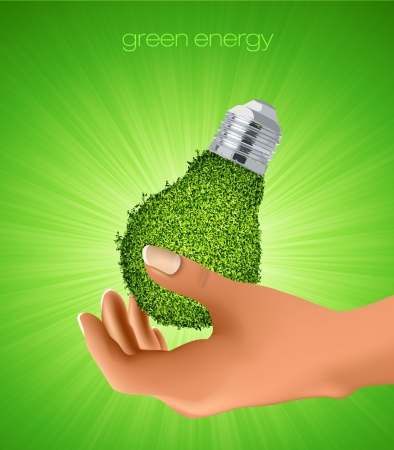light from the grass in his hands  the concept of clean energy Vector