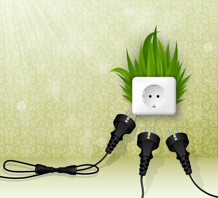 Green grass and a socket with three plugs  the concept of clean energy Vector