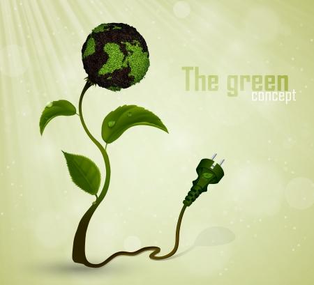 Groene stekker aan op de aarde en gras het concept van schone energie