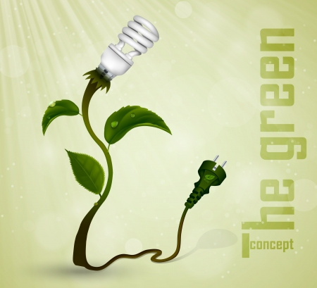 overuse: Green plug with energy-saving light bulb and grass  the concept of clean energy