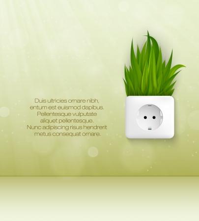 groene kamer met stekker en gras Stock Illustratie