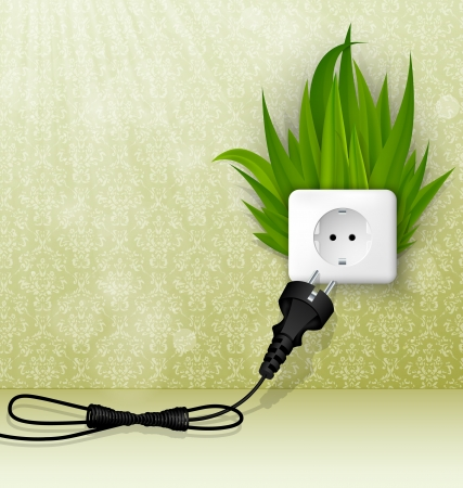 electrical energy: green room with socket, plug and grass Illustration