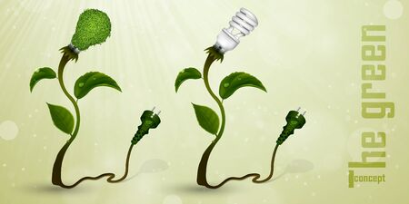 overuse: set of energy-efficient light bulbs from the grass and green leaves  The concept of clean energy