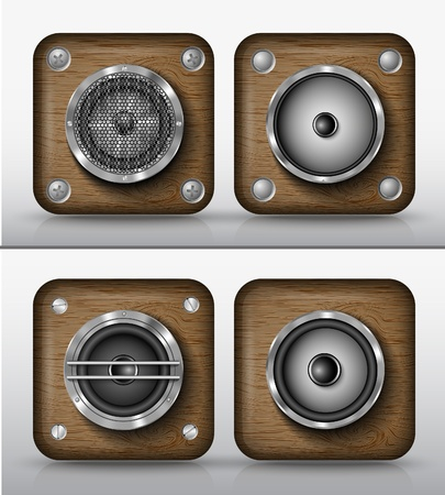 set of vector icons applications of wood, speakers Vector