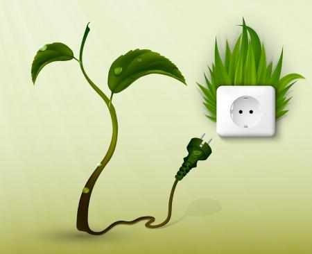 pianta, fiore con spina e presa il concetto di energia pulita