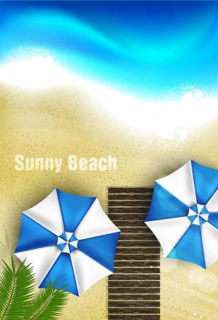 ビーチ パラソル、ヤシの木と紺碧の海岸