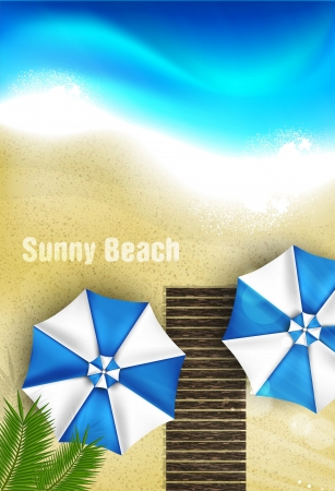 Azure coast with beach umbrellas, palm tree Illustration