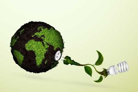 Energy saving light bulb with a plug and green leaves, grass and the planet  concept of ecology and clean energy Vector
