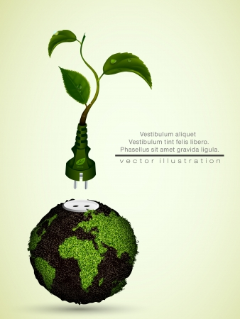 clean energy: green plug with leaves and planet  concept of clean energy
