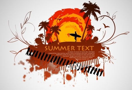 grungy frame with a surfer and palm trees and the summer sun Vector