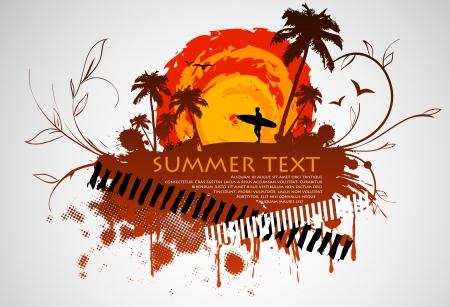 tabla de surf: Marco sucio con un surfista y palmeras y el sol del verano Vectores