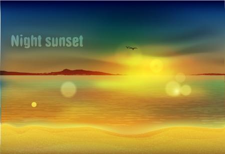 horizont: Night sunset on the sea, on the beach Illustration