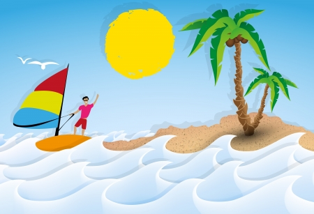 Paper tropical island with palm tree, waves and surfer Vector