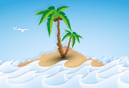 Paper tropical island with palm tree, waves Vector