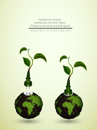 symbolize: green plug with leaves and planet  concept of clean energy