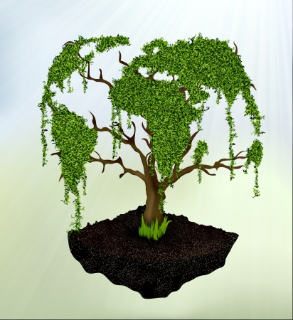 tree from the map of the earth with grass Vector