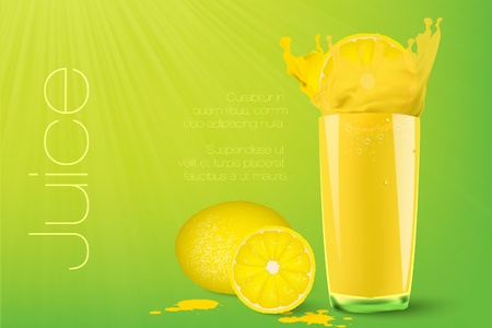 Pouring juice into a glass on a green background with lemon Illustration