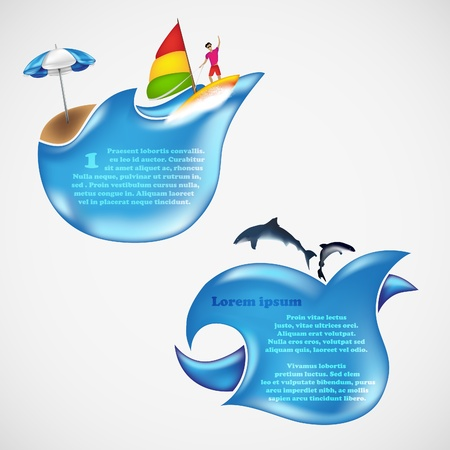 Chat box for text  Blue wave with an umbrella and fish Stock Vector - 21735542