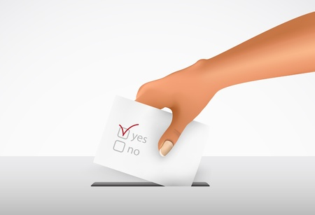 Hand putting a voting ballot in a slot of box  Vector