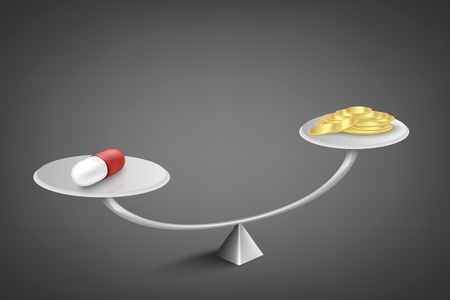 balance scale: medicine and money on scales Illustration