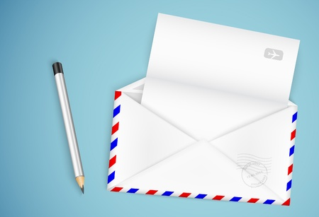 open envelope with a letter and a pencil Stock Vector - 21735551