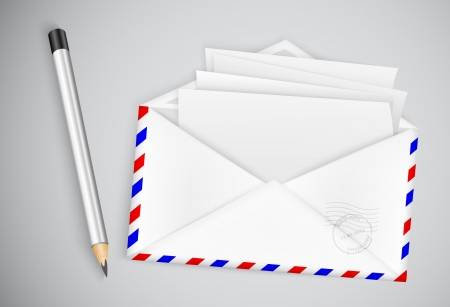 open envelope with a letter and a pencil Stock Vector - 21735552