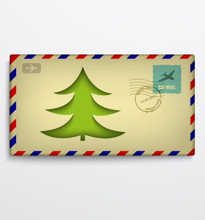 Christmas envelope with Christmas tree Vector