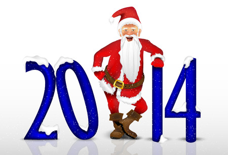 Santa Claus and the date of the New Year 2014 Vector