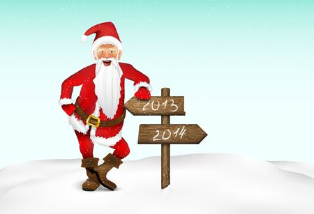 Santa Claus with a sign for text Vector