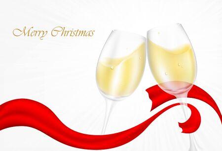 brindisi champagne: Due bicchieri di champagne di vetro con nastri