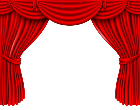 broadway stage: red silk curtains Illustration