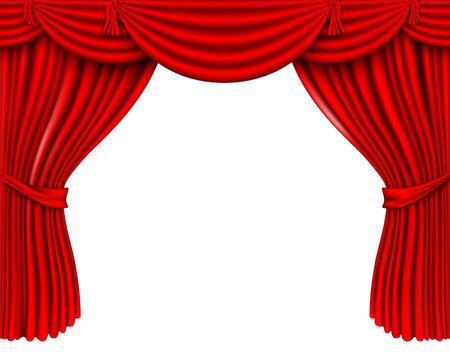 red silk curtains Illustration