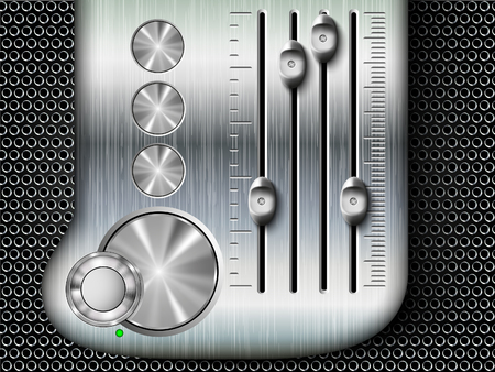 vector buttons with metallic mixing console faders Stock Vector - 22734975