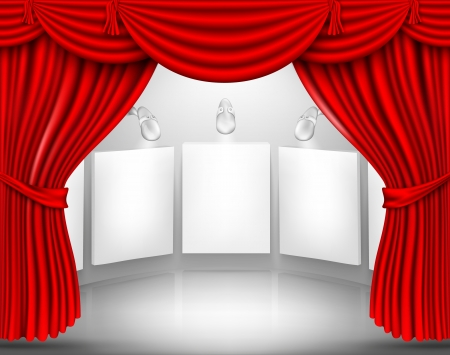 theater background: gallery with empty frame and red curtain