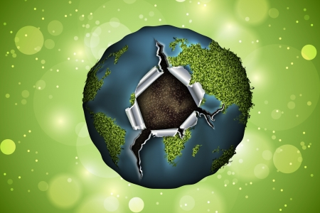 Green planet with the ground inside Vector