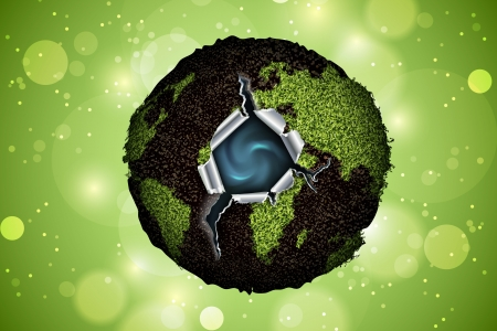 photocell: green planet with water inside