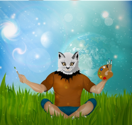 Man with a cat head and paints on the grass Vector