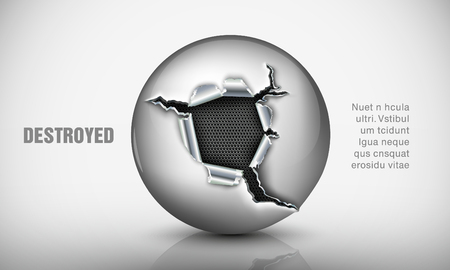 ricochet: Ragged hole in a metal sphere Illustration