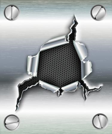 metalico: Agujero irregular en el metal con tornillos Vectores